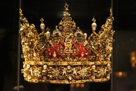 Uma das coroas da família real dinamarquesa que vimos no Castelo de Rosenborg