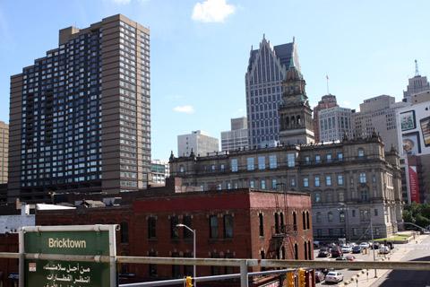 Vista da Estação Bricktown do People Mover (coladinha em Greektown)