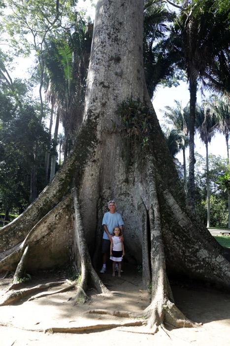 Meu pai e a Julia mostrando como essa árvore é enorme