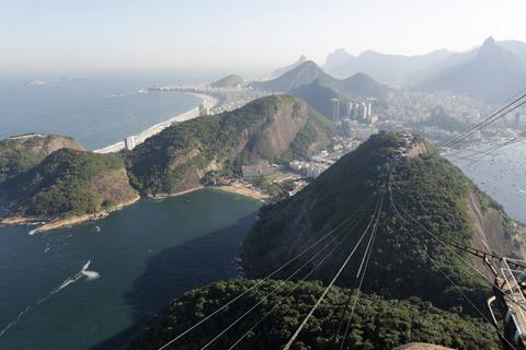 Trocando de lente: do lado direito a enseada de Botafogo, o morro da Urca no meio, e Praia Vermelha a esquerda - Copacabana atrás