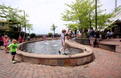As crianças amam esse laguinho no terraço