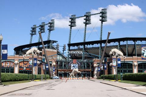 O estádio de baseball dos Detroit Tigers