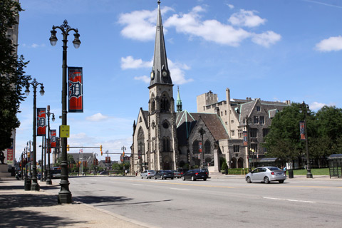 Woodward Avenue, Grand Circus Park e a Central United Metodist Church de 1867