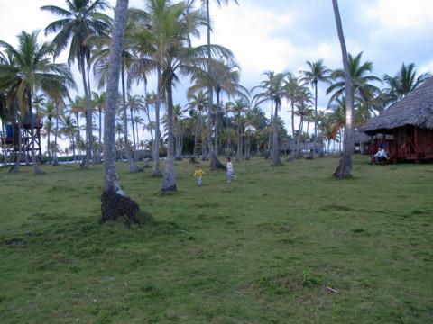 Eric e Julia correndo pelo gramado da Ilha Yandup em San Blás