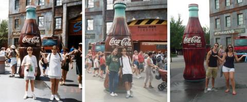 Fernando e a irmã na Disney em 98, 2002 e 2011
