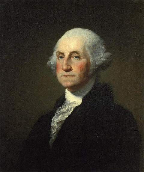 Portrait of George Washington, por Gilbert Stuart Williamstown. Imagem de domínio público. Presidents' Day