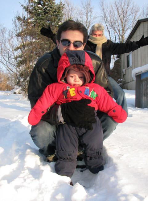 Primeira viagem da Julia, para Michigan, dezembro de 2007