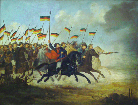 """Carga de cavalaria Farroupilha"" por Guilherme Litran - Foto:  Ricardo André Frantz. Licenciado sob Domínio público, via Wikimedia Commons."