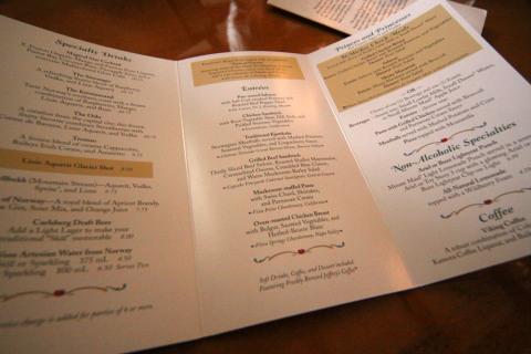 O menu do Akershus, os pratos principais no meio