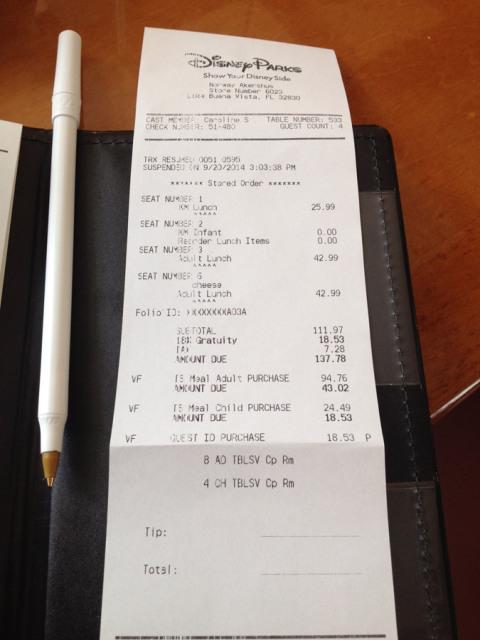 Nota fiscal do almoço no Akershus