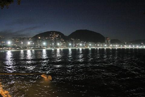 Anoitece na Praia de Copacabana