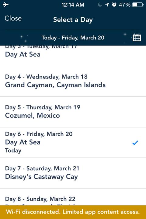 App Disney Cruise: escolha o dia e veja a programação