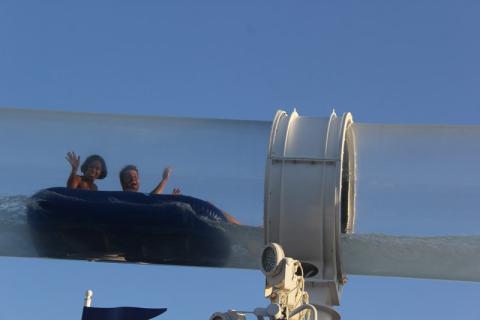 Eu e o Thiago no Aquaduck