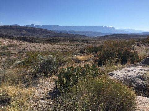 Sierra del Carmen vista do Rio Grande Overlook, pertinho do nosso camping na Rio Grande Village