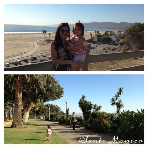 Camila e a filhota em Santa Monica