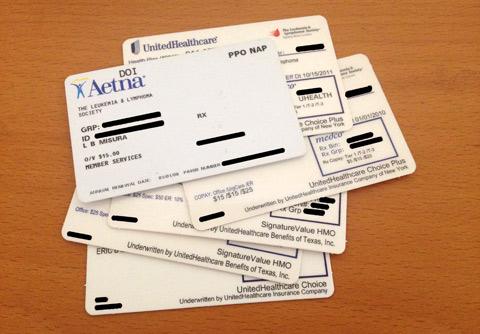 Alguns dos nossos cartões de planos de saúde ao longo dos anos