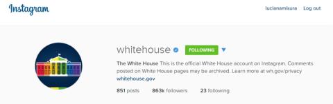 O Instagram da Casa Branca trocou a imagem pra casa colorida logo na hora do anúncio