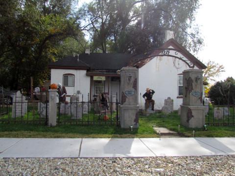 Casa enfeitada pro Halloween