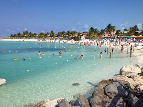 Uma das praias de família em Castaway Cay