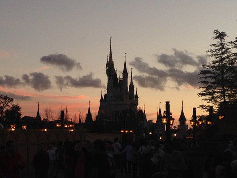 Castelo da Cinderela ao por-do-sol
