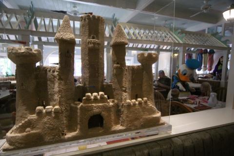 Castelo de areia no Cape May, e o Donald ao fundo