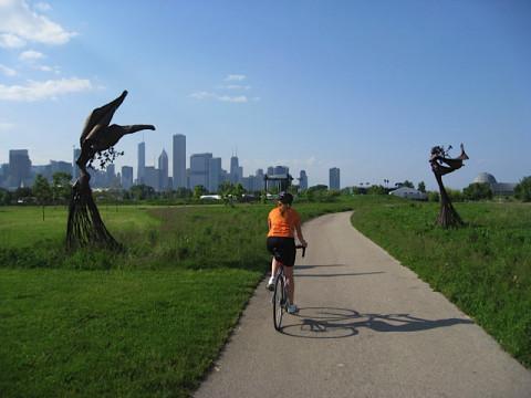 Passeando pela ciclovia em  Chicago