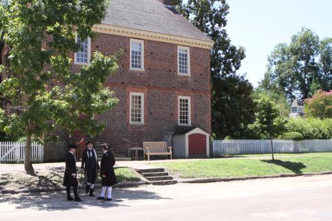 Colonos em Williamsburg, como no século 18