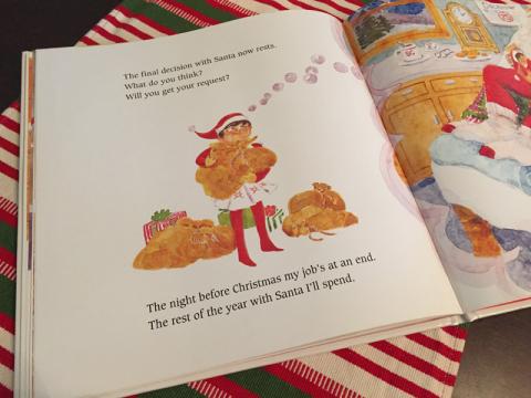 O Elf vai embora na véspera do Natal, com o relatório final, e só volta no ano seguinte