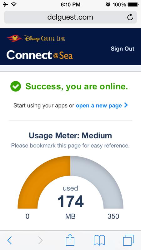 Checando quanto eu usei no pacote de internet a bordo do Disney Wonder