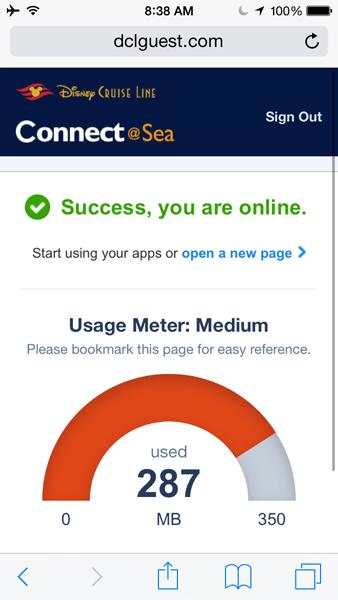 Terminei o cruzeiro assim, com alguns megabytes de sobra