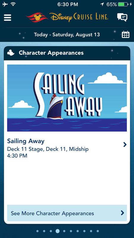 O aplicativo da Disney Cruise Line mostra a programação a bordo