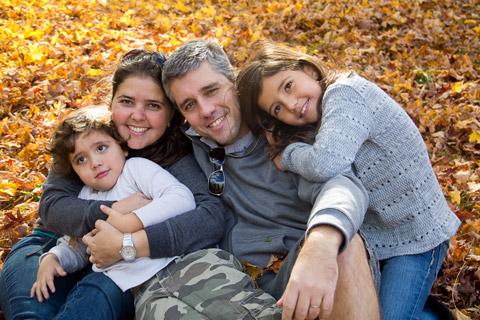 Duda e a família curtindo o outono em Boston