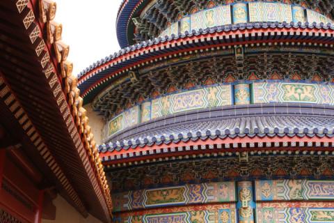 Detalhe do templo no pavilhão da China