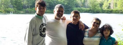 Evelyn e a família em Stratford, Connecticut