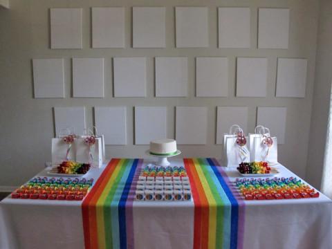 Início de festa com telas e bolo brancos