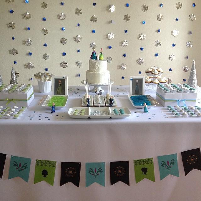 Festa De Frozen Em Branco Azul E Verde