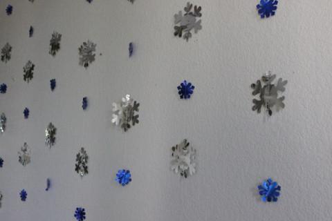 Detalhe dos flocos de neve na parede