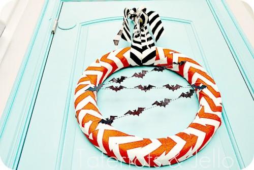 Guirlanda de chevron e morcegos para o Halloween
