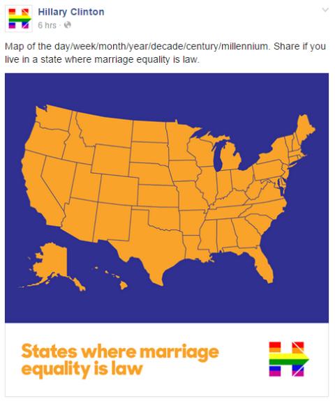 Hillary Clinton apoiou no seu Instagram e Facebook com esse mapa do país mostrando onde casais de mesmo sexo podem se casar: todos #MarriageEquality