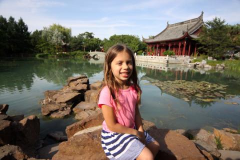 Julia no Jardim Chinês, também parte do Jardim Botânico de Montréal
