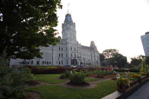 O jardim do Parlamento é bem bonito e tem uma horta pública