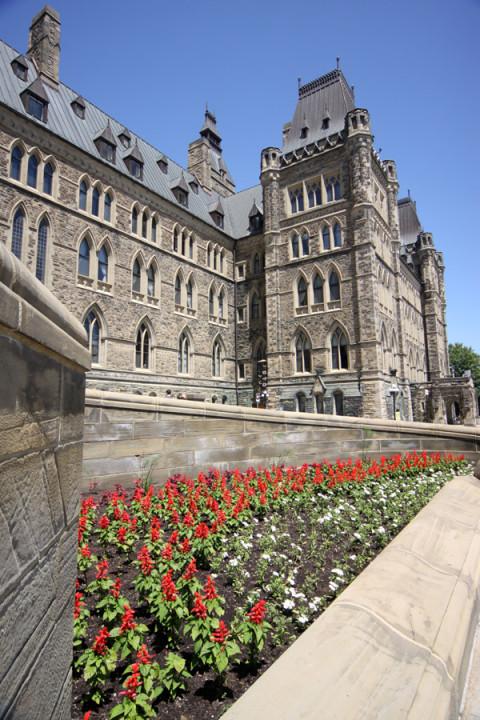 Jardim na entrada do Parlamento