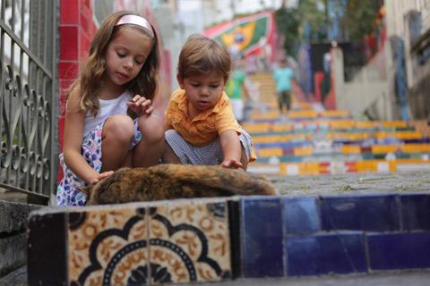 "Julia e Eric adoraram essa gata chamada Joaninha, que mora na Escadaria Selarón, foto de Gustavo ""Camarão"" Bordallo"