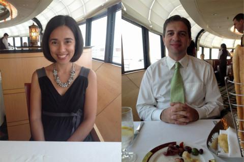 Eu e Gabe no jantar no Palo, arrumadinhos