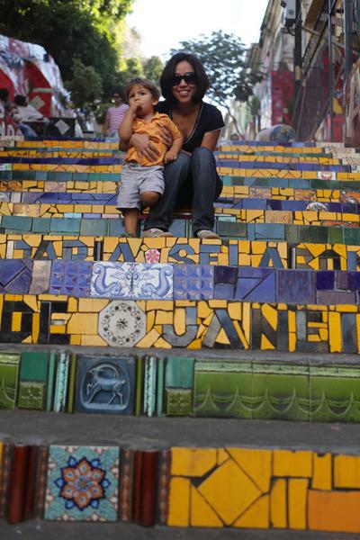 """Eu e Eric na Escadaria Selarón, foto de Gustavo """"Camarão"""" Bordallo"""