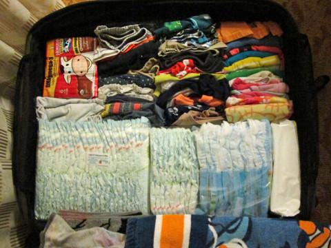 Mala das crianças pra nossa viagem pro Panamá - tinha t-u-d-o pros dois em uma mala média: roupas, comidinhas, fraldas, lencinhos, toalhas, porque em San Blás não tem nada mesmo