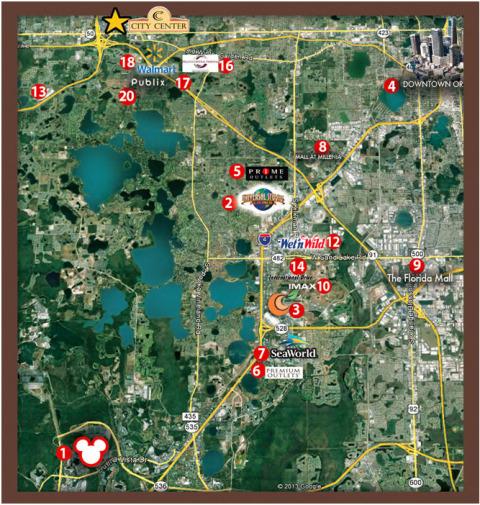 Mapa de Orlando com o City Center West Orange