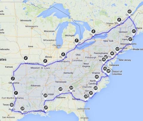 Mapa da nossa viagem de carro pelos EUA e Canadá