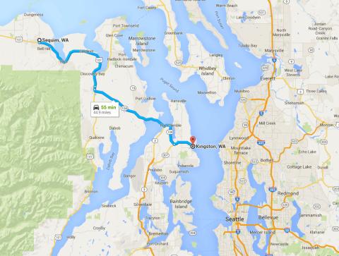 Mapa mostrando o caminho de Kingston a Sequim, e a posição de Seattle.