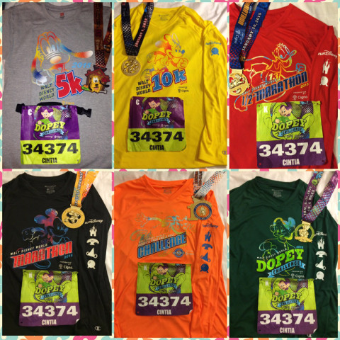 As camisetas todas para as diversas corridas do Marathon Weekend da Disney